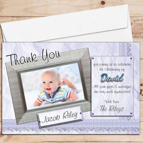 10 Personalised Boys Birth / Christening / Baptism Thank you PHOTO Cards N202